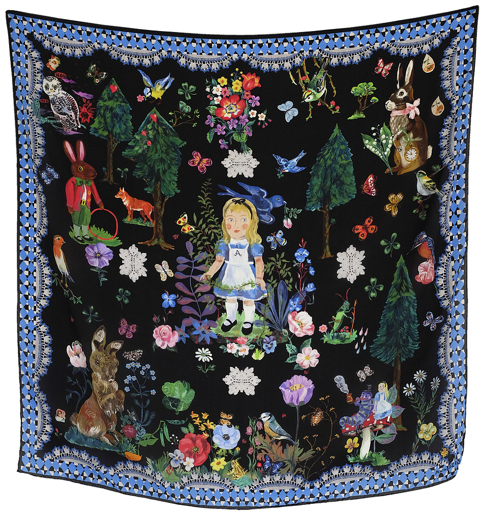 Nathalie Lete Alice in Wonderland Silk Scarf