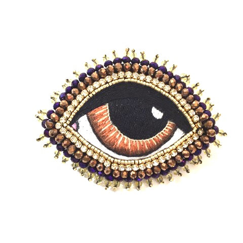 Celeste Mogador Large Brown Eye Brooch