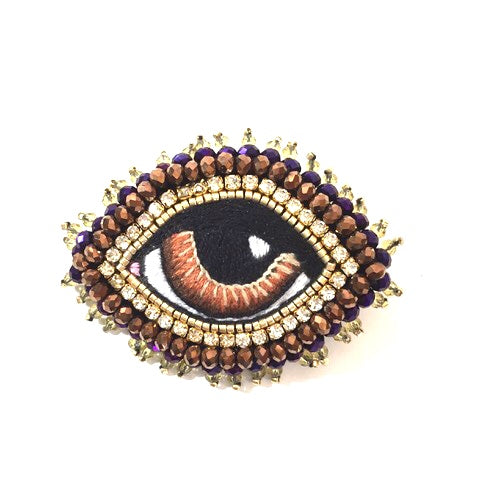 Celeste Mogador Medium Brown Eye Brooch