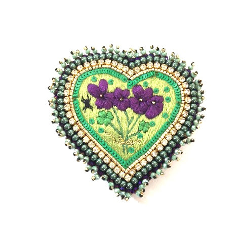 Violet Heart Brooch by Celeste Mogador