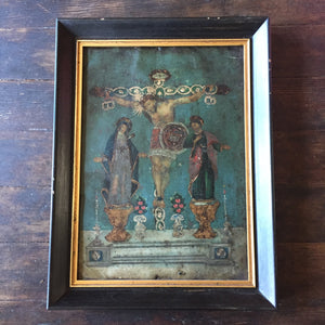 19th Century Crucifix Mexican Retablo