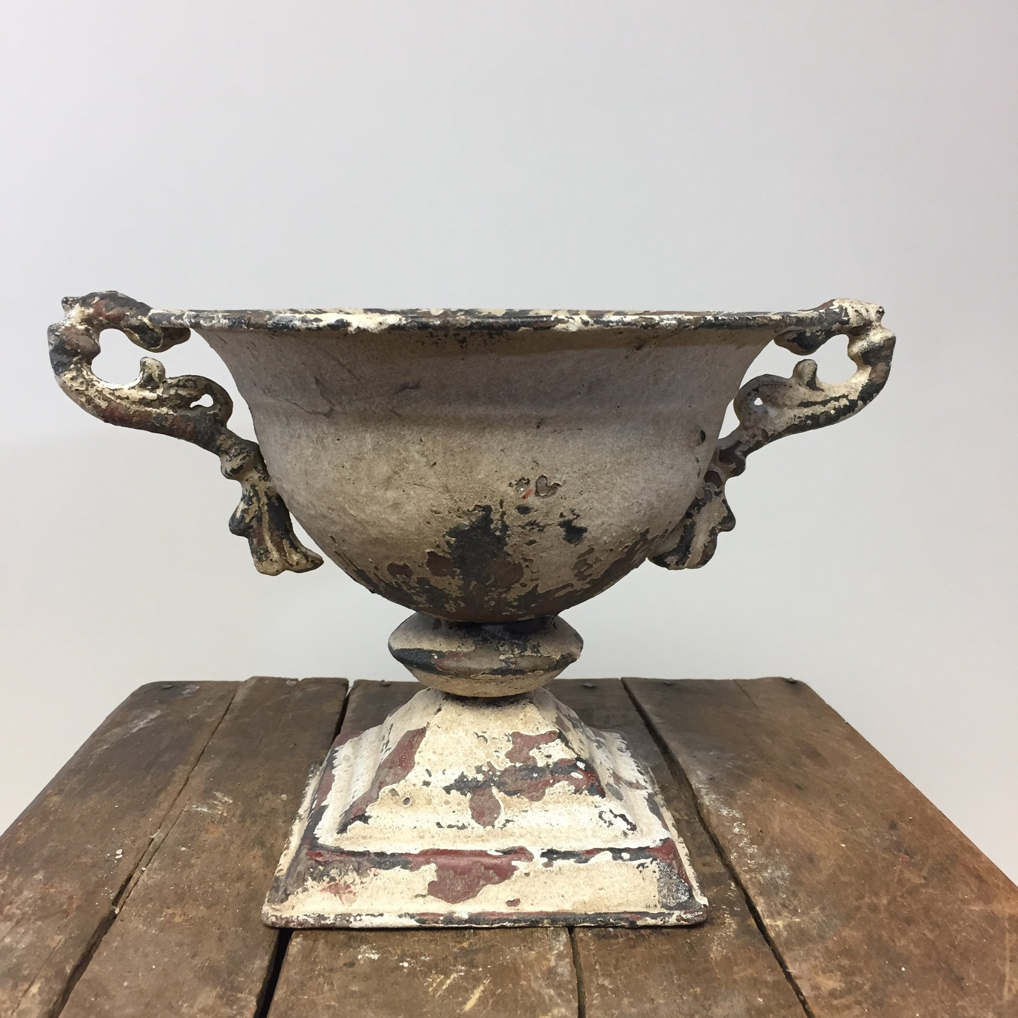 Distressed White Urn