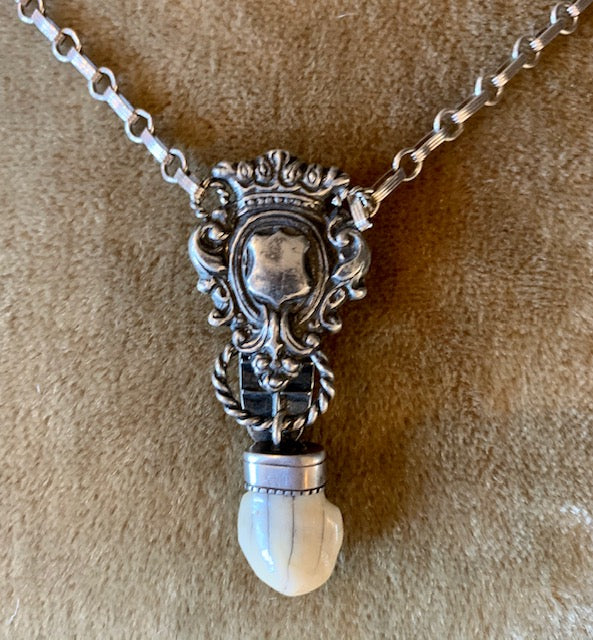 Vintage Sterling Necklace With Antique Fossil Tooth Pendant