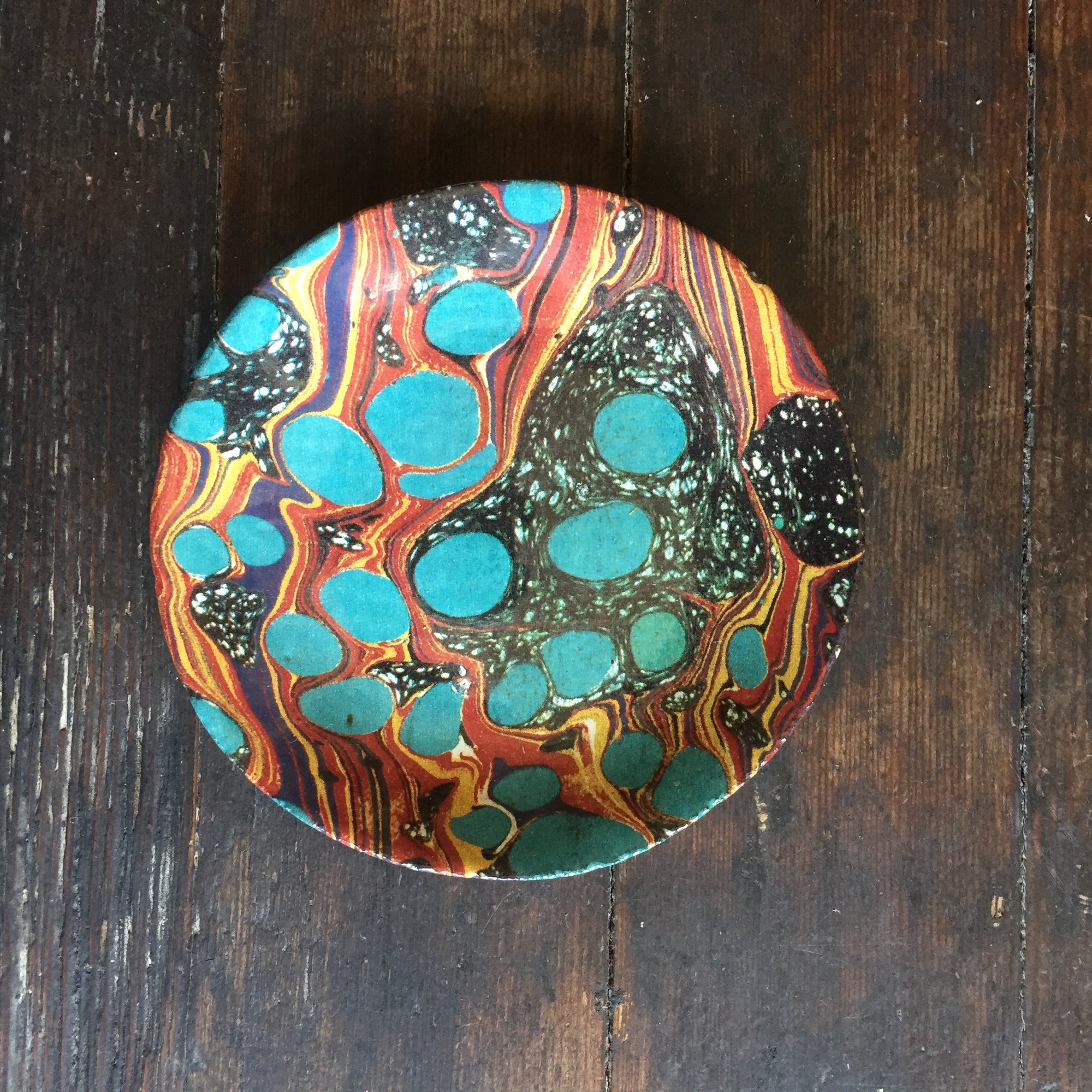 John Derian Turquoise Orange and Black Marble Saucer