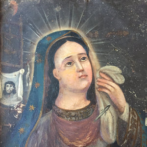 Veronica's Veil 19th Century Mexican Retablo