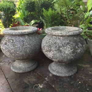 Antique Cast Stone Weathered Urn Pair