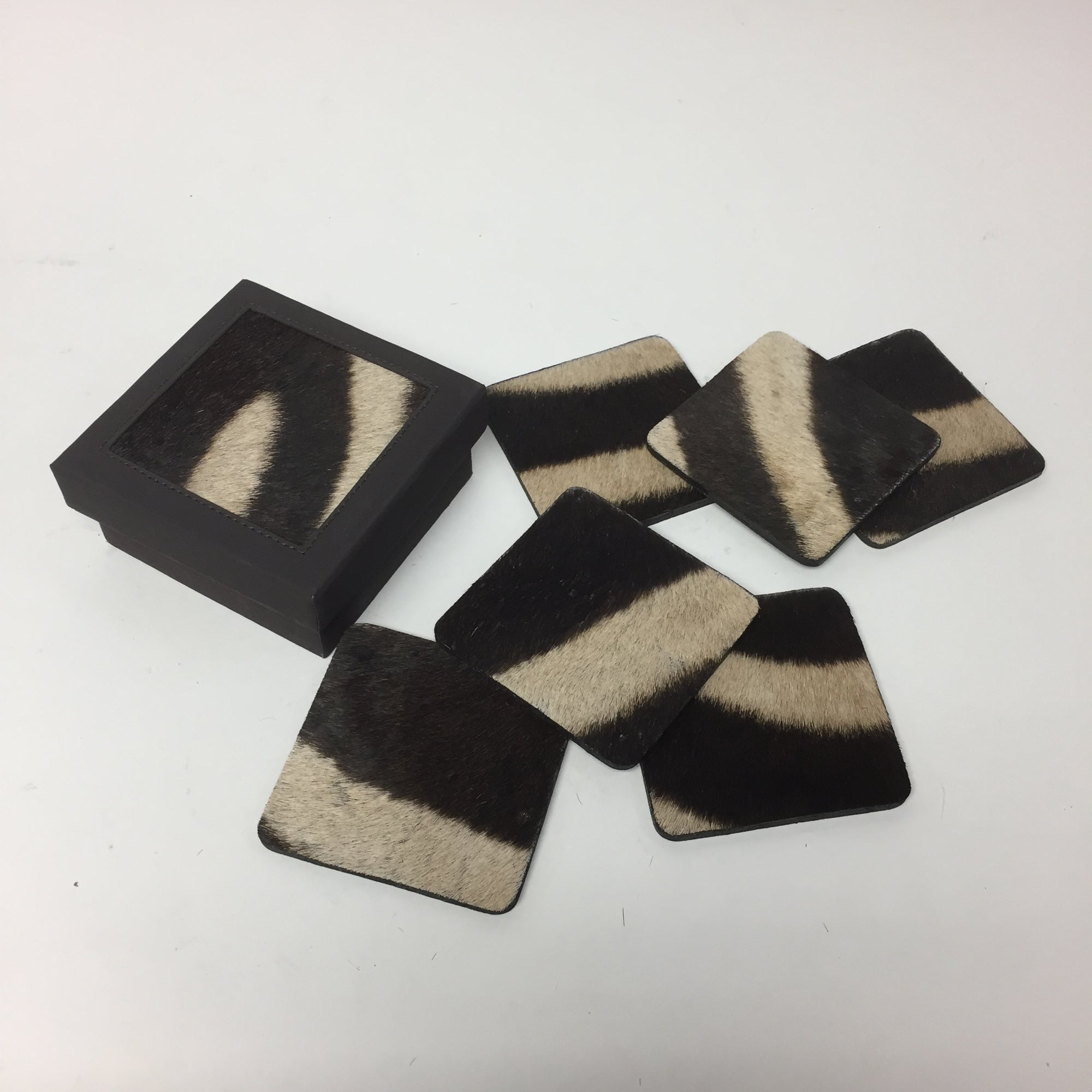 Zebra Skin Coasters in Box