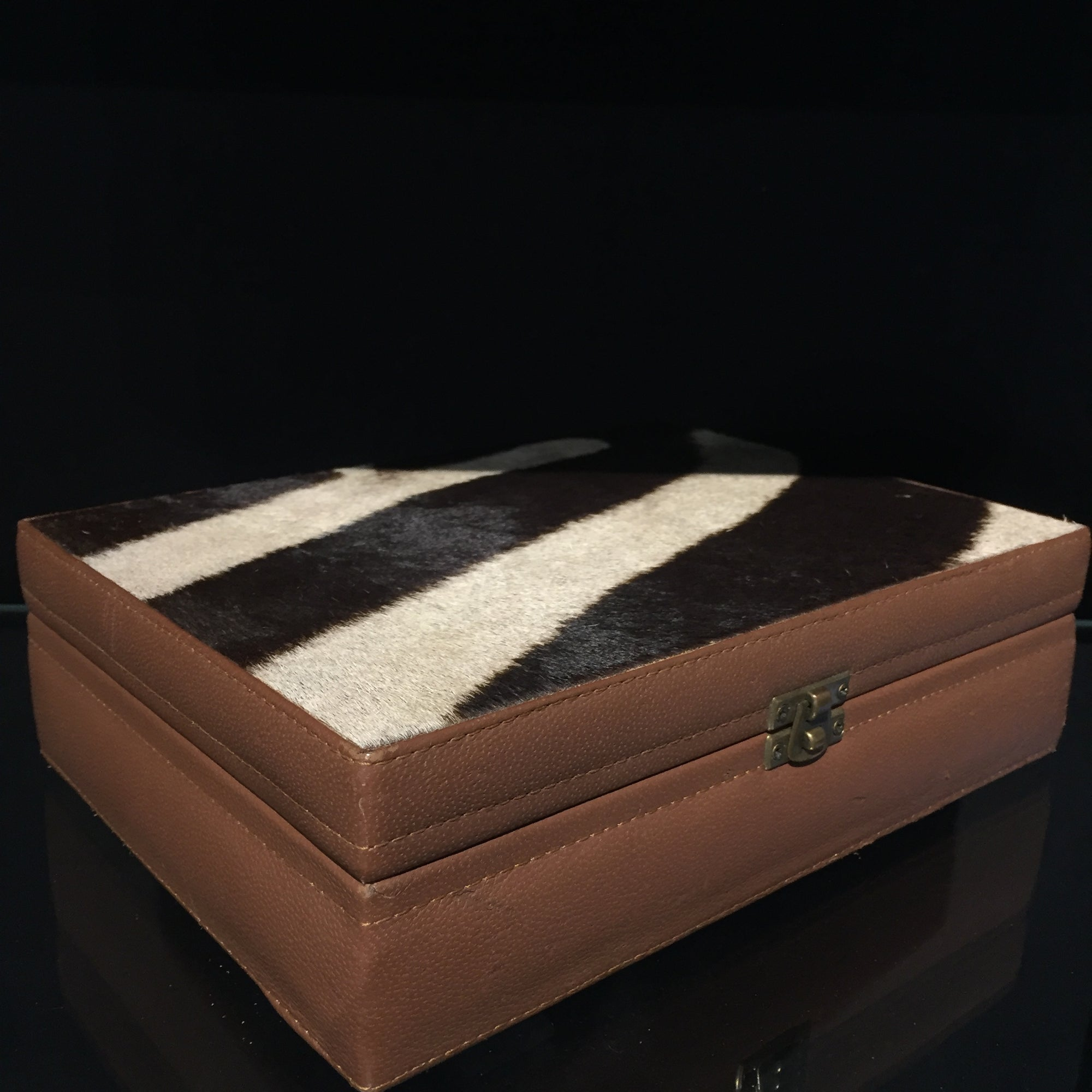 Zebra Skin Leather Box Medium