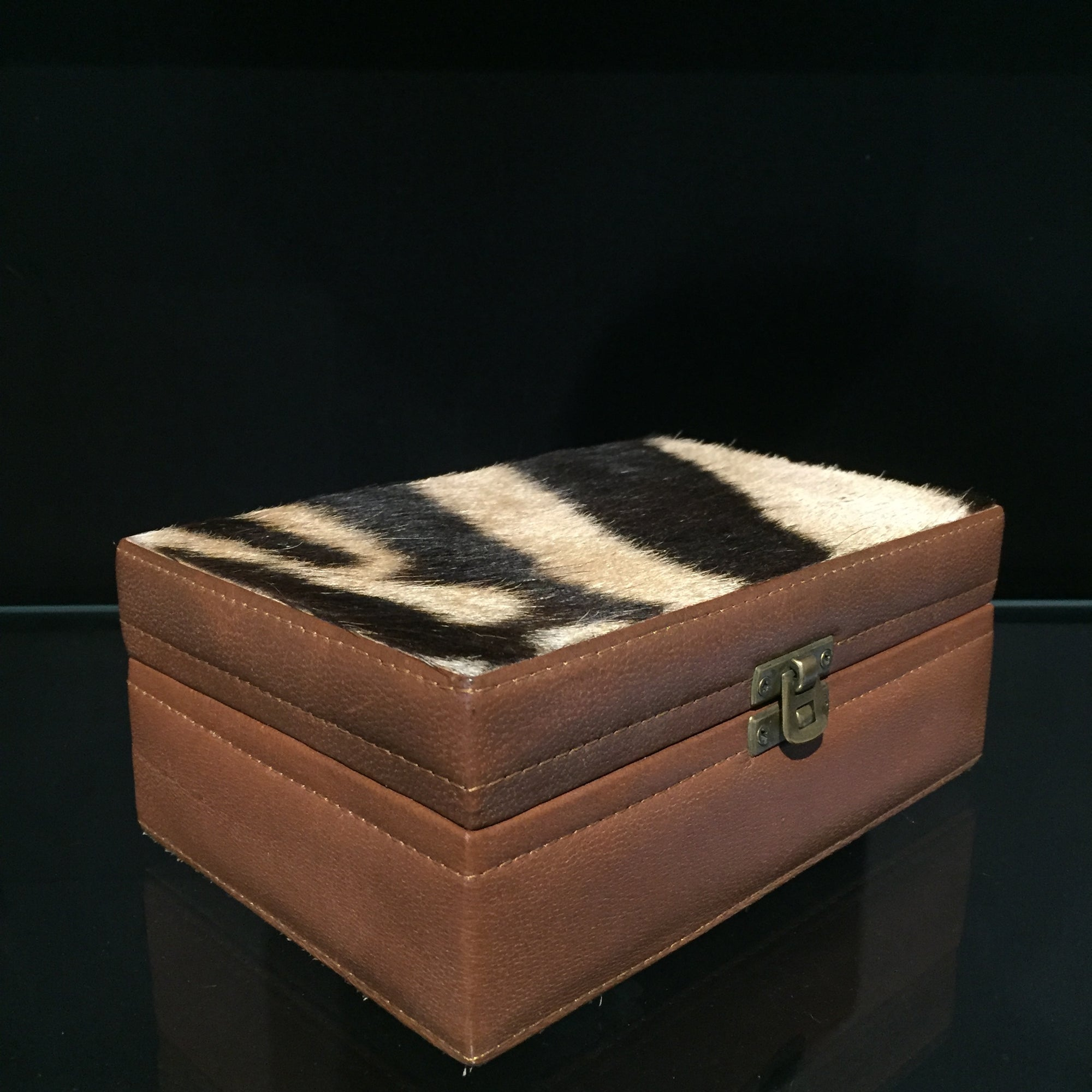 Zebra Skin Leather Box Small