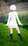 Champagne Pink Suede Sleeved Huntress Cinch Dress