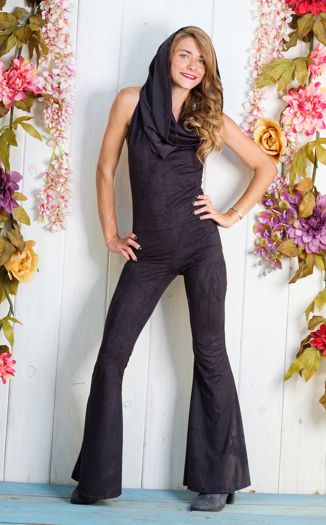 25% Off - Black Suede Firebird Slim Bell Onesie