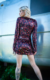 Skull and Roses Velvet Sleeved Echo Cinch Dress - Grateful Dead