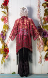 20% Off - Red Lace Kimono with Black Fringe