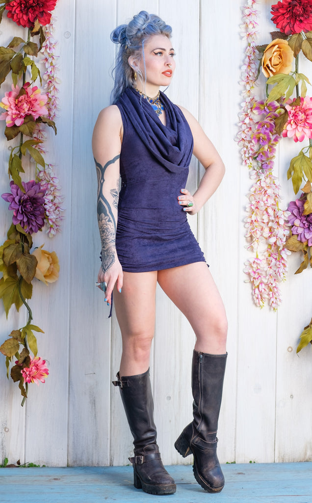 30 % Off - Navy Suede Huntress Cinch Dress