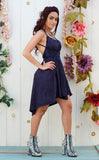30% Off - Navy Suede n Azul Cheetah Pocket Dress