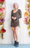 Olive Suede Sleeved Echo Cinch Dress