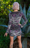 Pink Paisley Burnout Sleeved Echo Cinch Dress