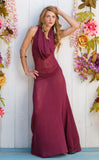 Sheer Maroon Firebird Gown