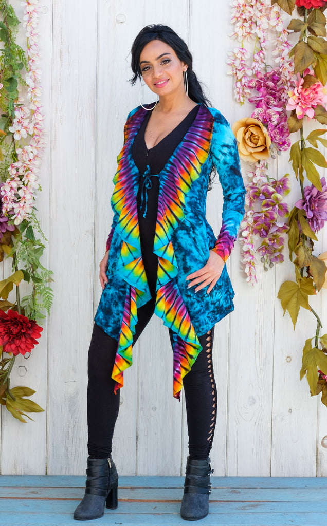 Tie Dye Waterfall Cardigan
