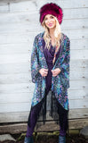 Cyan Liquid Light Kimono - Jammin Warrior Collective