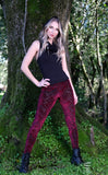 Maroon Chevron Burnout Velvet Ladyhawke Leggings