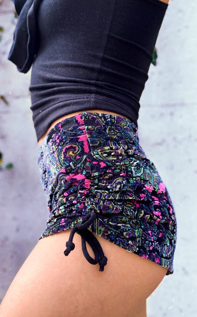 Pink Paisley Burnout Velvet Cowgirl Shorts