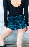 Aqua Cheetah Burnout Velvet Cowgirl Shorts