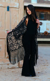 Black Lace Kimono with Black Fringe
