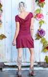 35% Off - Sangria Suede Palindrome Dress