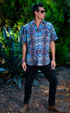 Cyan Liquid Light Button Down Shirt - Jammin Warrior Collective