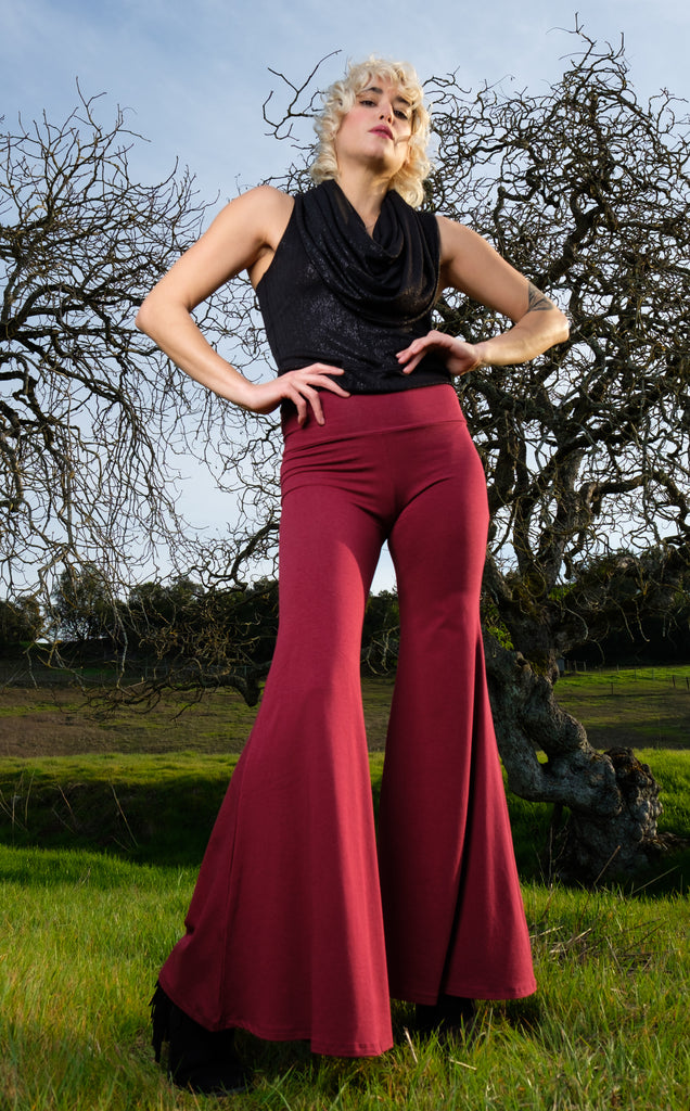 Maroon Bamboo High Waist Big Bell Pants