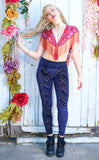 Navy Chevron Burnout Velvet Ladyhawke Leggings