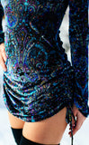 Purple Paisley Burnout Sleeved Echo Cinch Dress