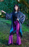 Purple Paisley Burnout Velvet Kimono with Teal/Black Hombre Fringe
