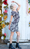 Silver Blossom Burnout Velvet Palindrome Dress