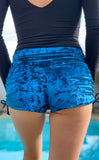 Teal Crush Velvet Cowgirl Shorts