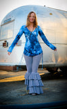 Blue Feather Sleeved Echo Cinch Dress - Warrior Within Designs ,Dress