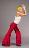 Fire Engine Red Velvet Flow Pants - Warrior Within Designs ,Pants