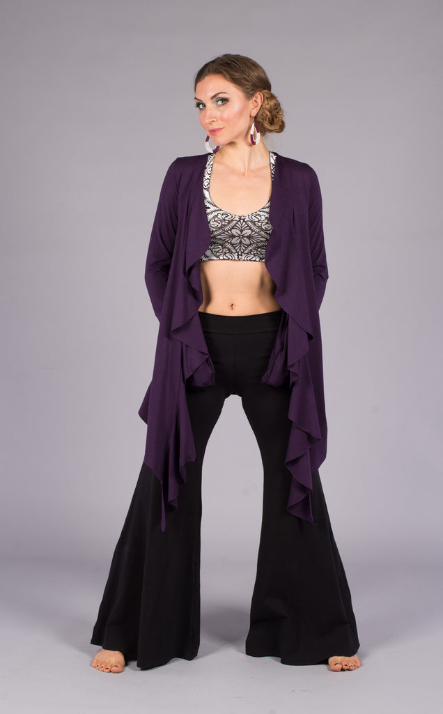 Purple Bamboo Waterfall Cardigan