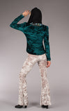 Liquid Light + Green Velvet Reversible Caliko Jacket - Jammin Warrior Collective - Warrior Within Designs ,Jacket