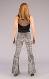 Silver Burnout Velvet Slim Bells - Warrior Within Designs ,Pants