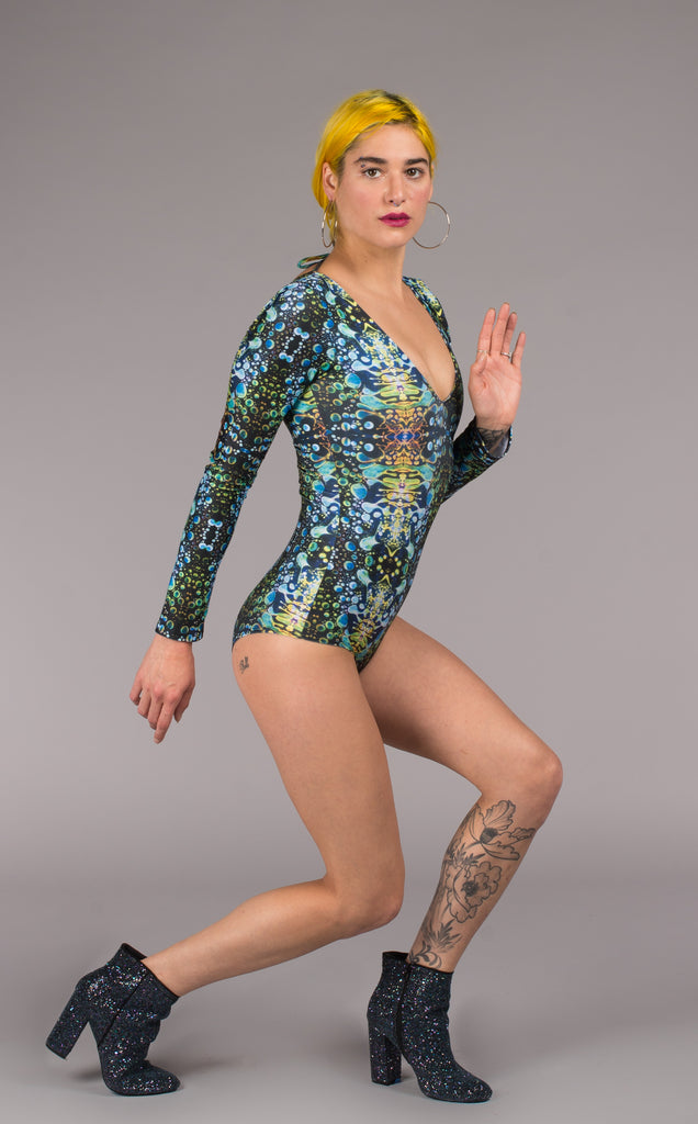 Green Liquid Light Lyra Bodysuit - Jammin Warrior Collective - Warrior Within Designs ,Bodysuit