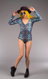 Cyan Liquid Light Lyra Bodysuit - Jammin Warrior Collective - Warrior Within Designs ,Onesie