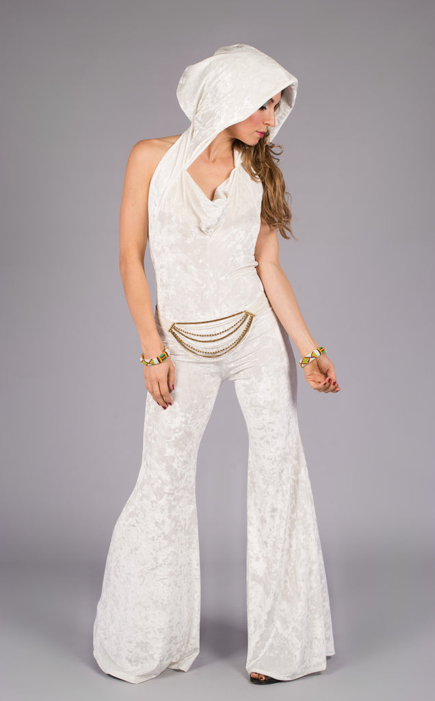 White Velvet Mystique Slim Bell Onesie - Warrior Within Designs ,Onesie