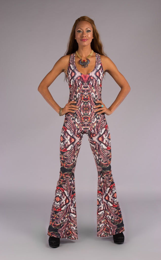 Forest Feather Velvet Panther Pant Jumpsuit