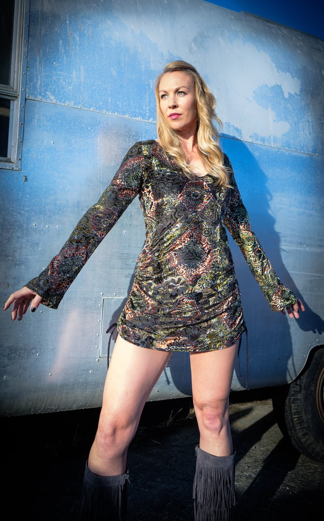 Autumn Burnout Sleeved Echo Cinch Dress - Warrior Within Designs ,Dress