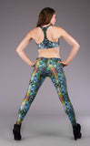 Green Liquid Light Wishbone Yoga Bra Top - Warrior Within Designs ,Bra Top