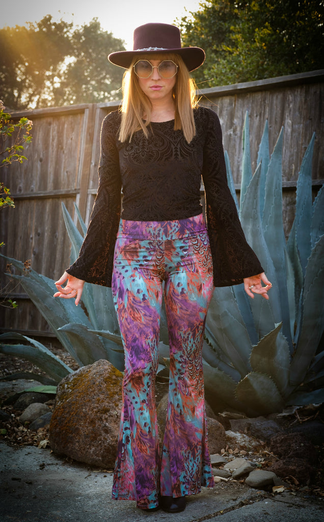 Purple Feather Slim Bells - Warrior Within Designs ,Pants