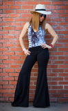 Black Bamboo High Waist Flow Pants - Warrior Within Designs ,Pants
