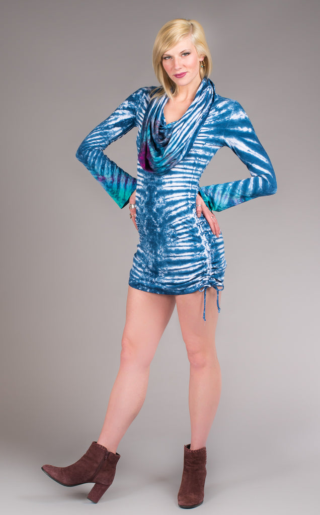 Tie Dye Long Sleeved Huntress Cinch Dress - Warrior Within Designs ,Tie Dye